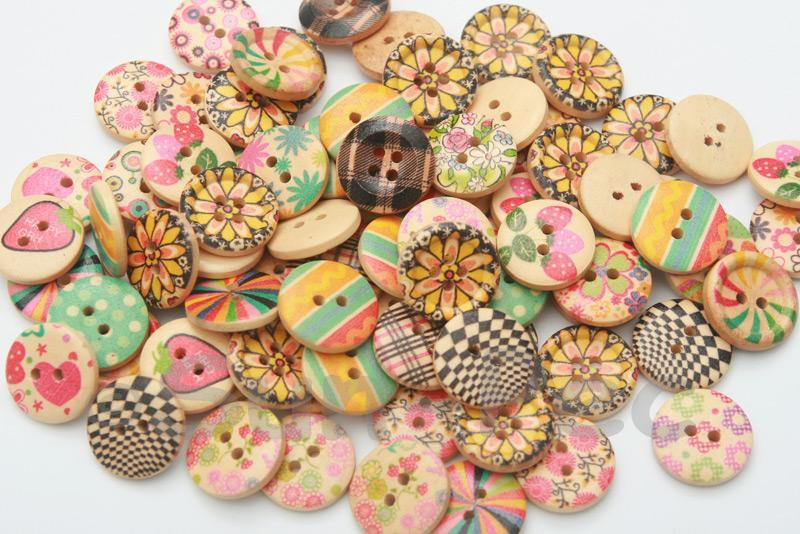 18mm Assorted Decorative Wooden Buttons 10pcs - 50pcs