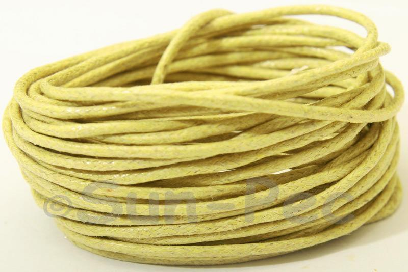 Pale Yellow 1.5mm Smooth Coated Hemp Cord 5m - 50m