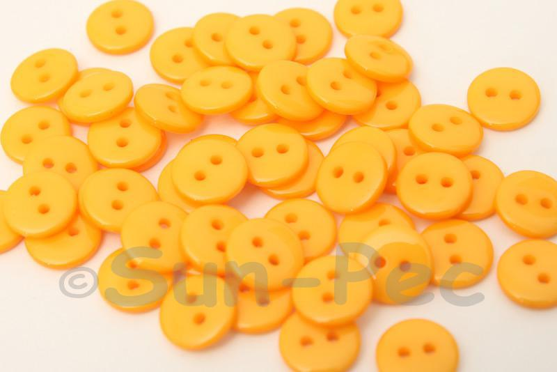 Light Orange 10mm Standard Round 2 Eye Hole Buttons 50pcs - 200pcs