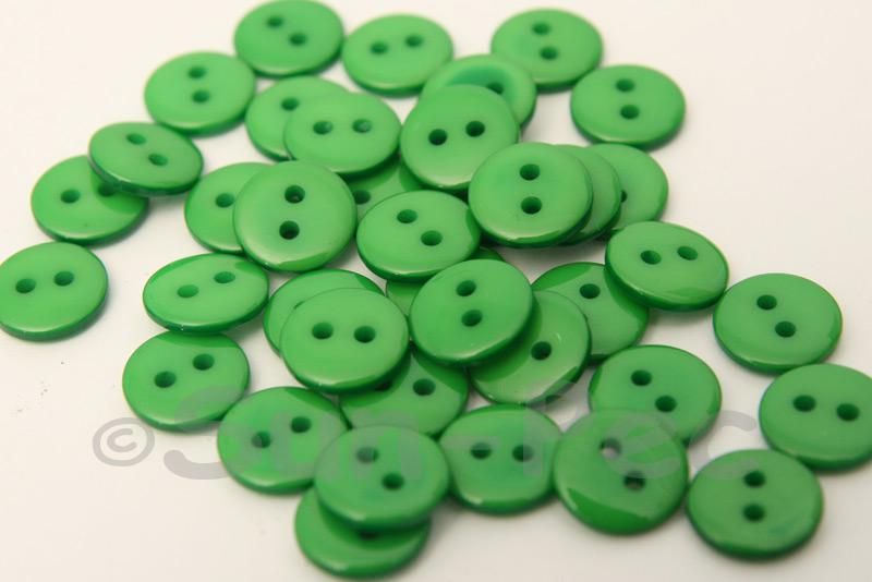 Green 10mm Standard Round 2 Eye Hole Buttons 50pcs - 200pcs