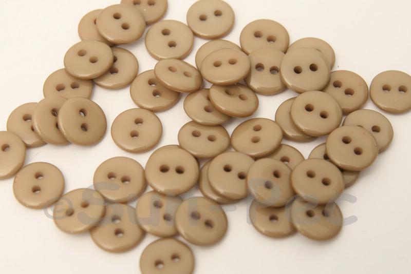 Khaki 10mm Standard Round 2 Eye Hole Buttons 50pcs - 200pcs