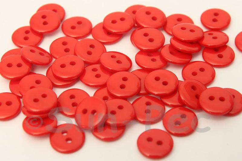 Red #1 10mm Standard Round 2 Eye Hole Buttons 50pcs - 200pcs