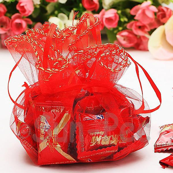 Red 35cm (24cm) Sheer Ciruclar Ruffle Bags for Gifts/Favours 10pcs - 50pcs