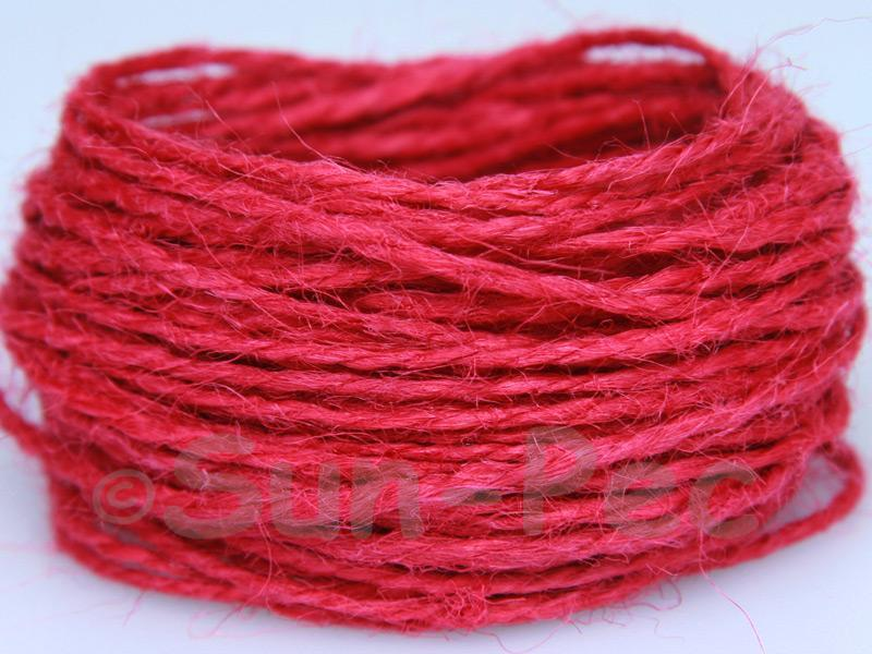 Berry Red 1mm-1.5mm Coarse Twisted Hemp Jute Cord 5m - 80m