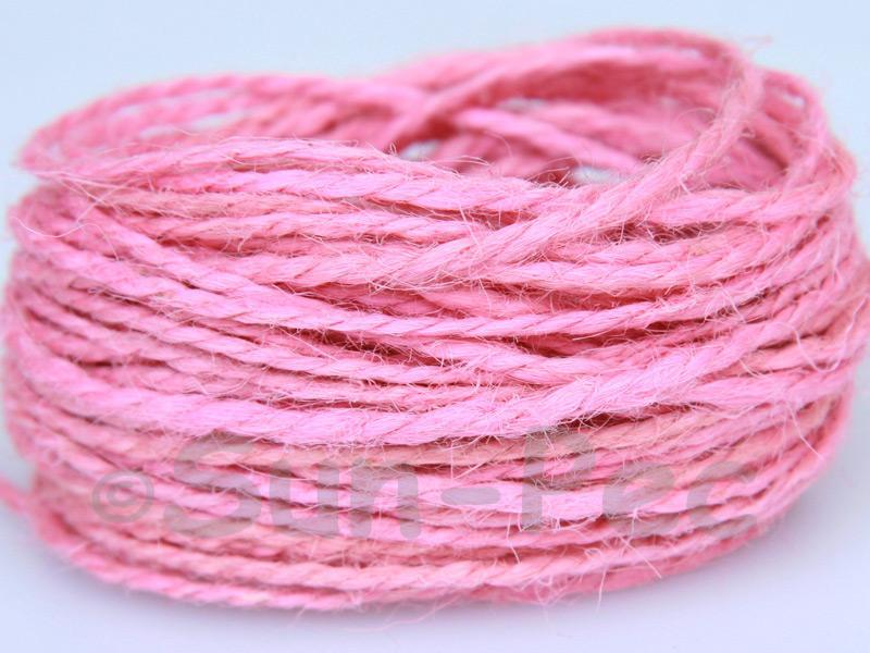 Pink 1mm-1.5mm Coarse Twisted Hemp Jute Cord 5m - 80m