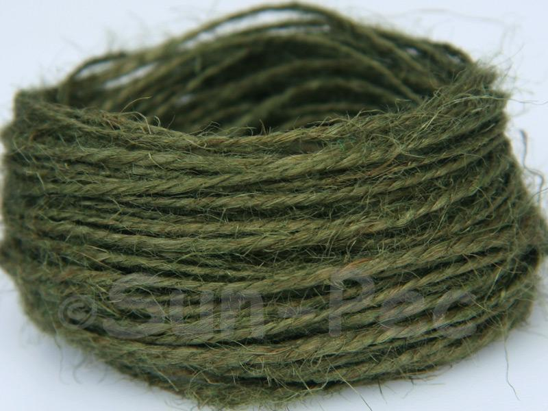 Khaki-Green 1mm-1.5mm Coarse Twisted Hemp Jute Cord 5m - 80m