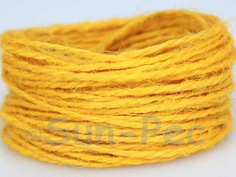 Yellow 1mm-1.5mm Coarse Twisted Hemp Jute Cord 5m - 80m