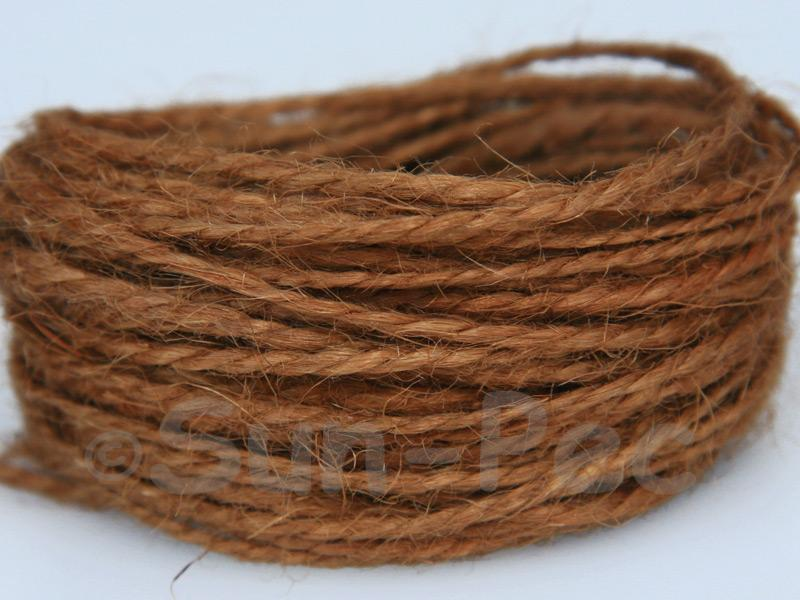 Khaki-Brown 1mm-1.5mm Coarse Twisted Hemp Jute Cord 5m - 80m