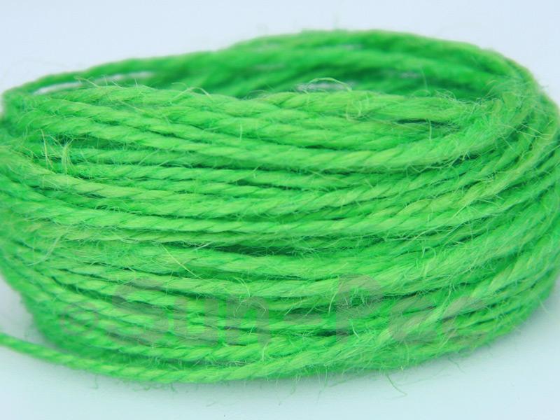 Bright Green 1mm-1.5mm Coarse Twisted Hemp Jute Cord 5m - 80m