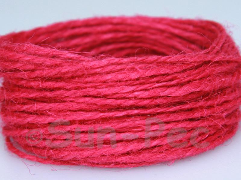 Deep Rose 1mm-1.5mm Coarse Twisted Hemp Jute Cord 5m - 80m