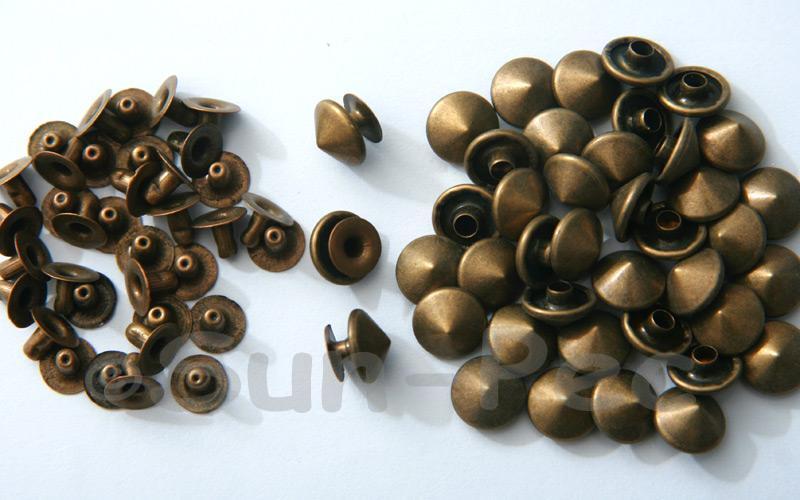 Bronze 10mm Mushroom Prism Dome Rivet & Burr Sets 10pcs - 60pcs