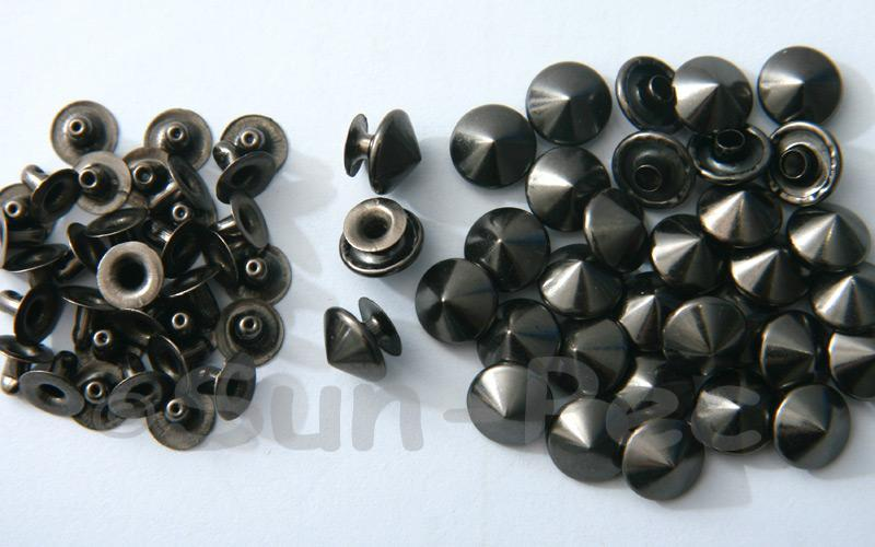 Gunmetal Black 10mm Mushroom Prism Dome Rivet & Burr Sets 10pcs - 60pcs