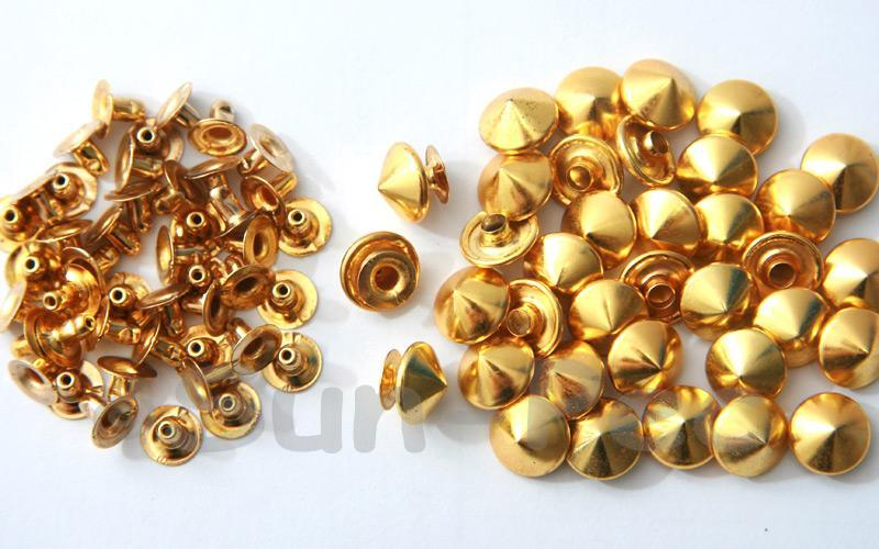 Gold 10mm Mushroom Prism Dome Rivet & Burr Sets 10pcs - 60pcs