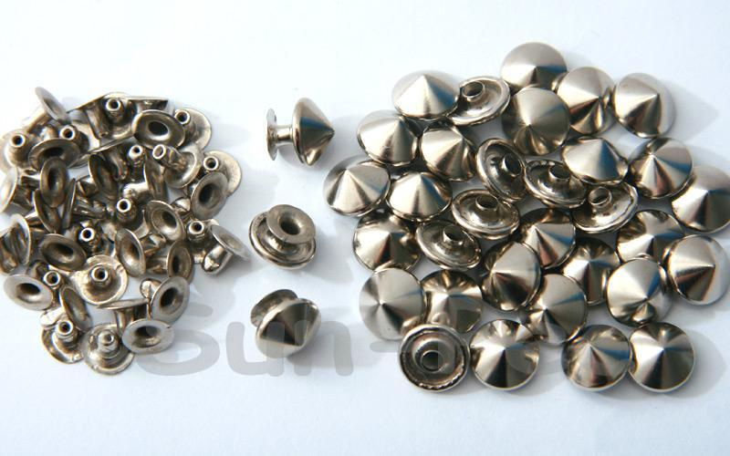 Silver 10mm Mushroom Prism Dome Rivet & Burr Sets 10pcs - 60pcs