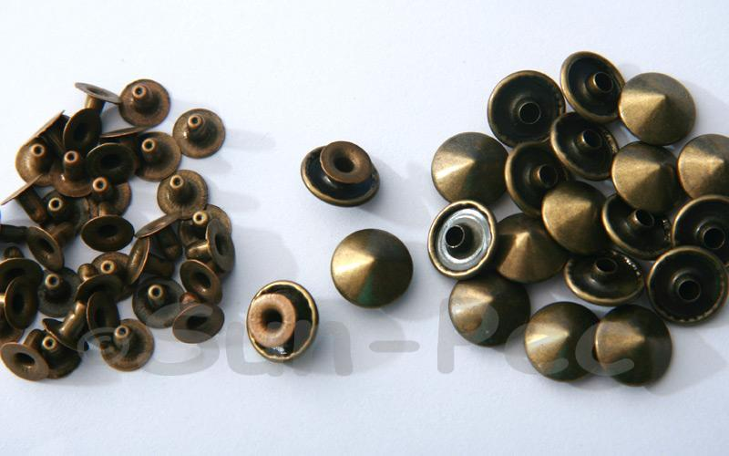 Bronze 12mm Mushroom Prism Dome Rivet & Burr Sets 10pcs - 50pcs