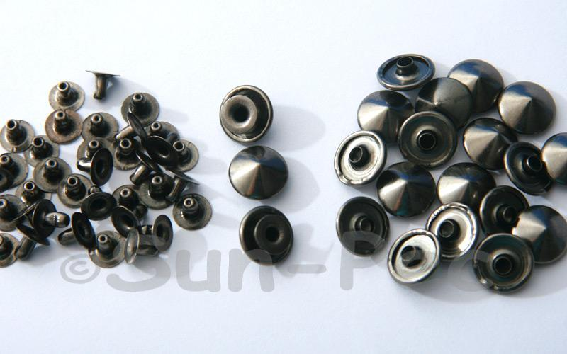 Gunmetal Black 12mm Mushroom Prism Dome Rivet & Burr Sets 10pcs - 50pcs
