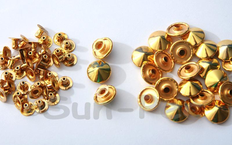 Gold 12mm Mushroom Prism Dome Rivet & Burr Sets 10pcs - 50pcs