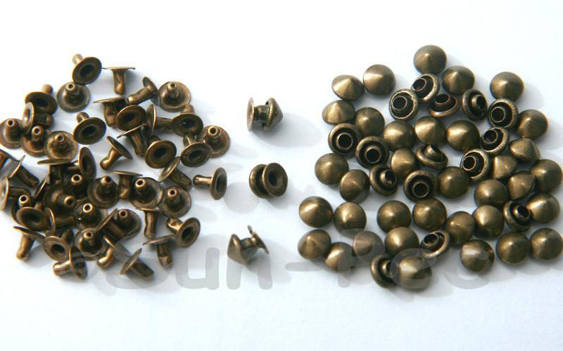 Bronze 5mm Mushroom Prism Dome Rivet & Burr Sets 10pcs - 60pcs
