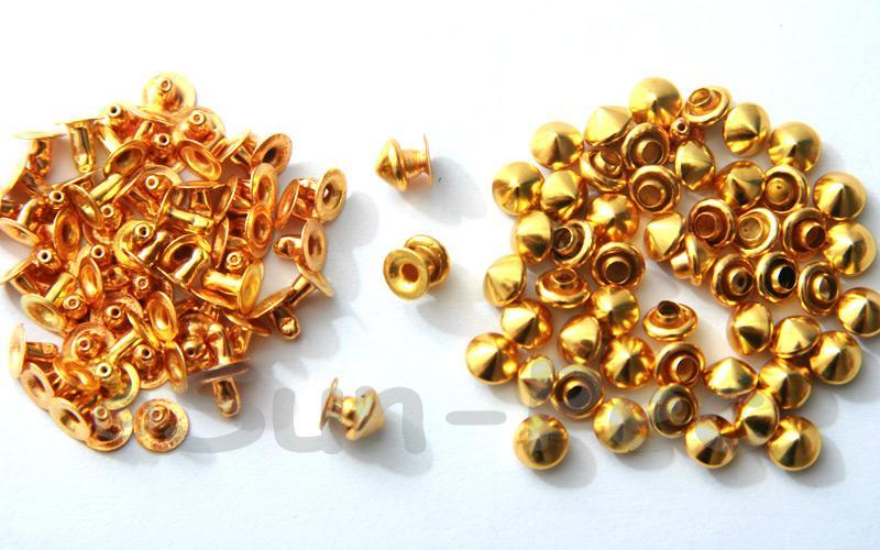 Gold 5mm Mushroom Prism Dome Rivet & Burr Sets 10pcs - 60pcs