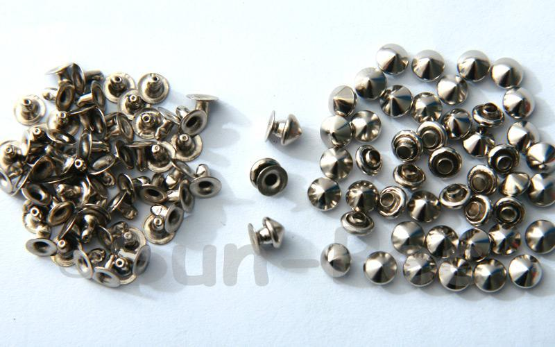Silver 5mm Mushroom Prism Dome Rivet & Burr Sets 10pcs - 60pcs