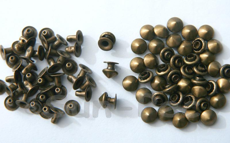Bronze 6mm Mushroom Prism Dome Rivet & Burr Sets 10pcs - 60pcs