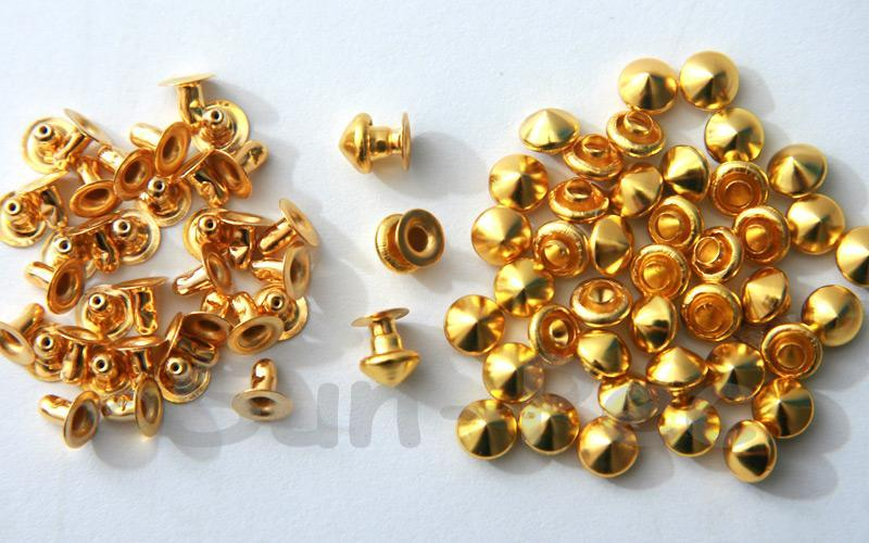 Gold 6mm Mushroom Prism Dome Rivet & Burr Sets 10pcs - 60pcs