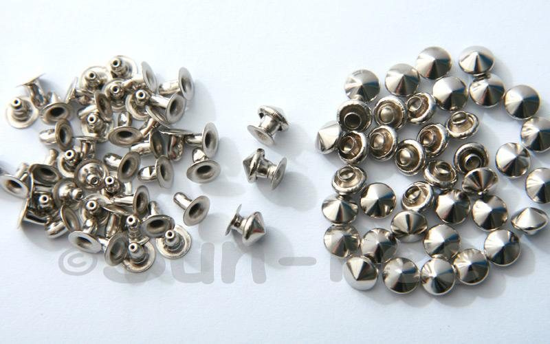 Silver 6mm Mushroom Prism Dome Rivet & Burr Sets 10pcs - 60pcs