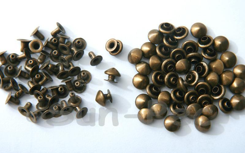 Bronze 7mm Mushroom Prism Dome Rivet & Burr Sets 10pcs - 60pcs
