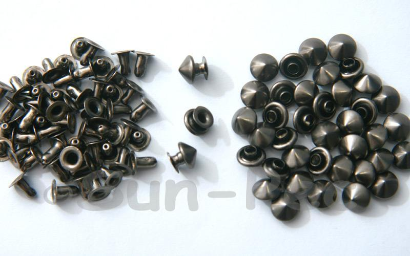 Gunmetal Black 7mm Mushroom Prism Dome Rivet & Burr Sets 10pcs - 60pcs