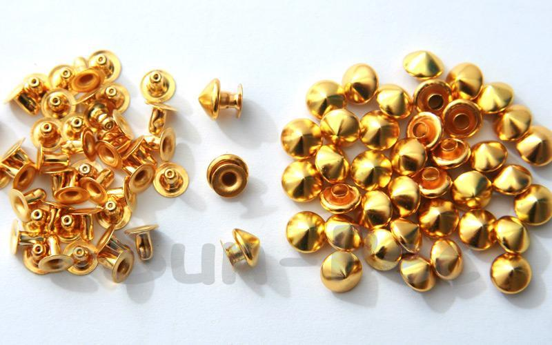 Gold 7mm Mushroom Prism Dome Rivet & Burr Sets 10pcs - 60pcs