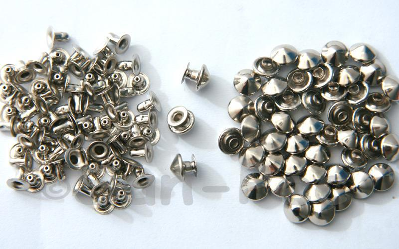Silver 7mm Mushroom Prism Dome Rivet & Burr Sets 10pcs - 60pcs