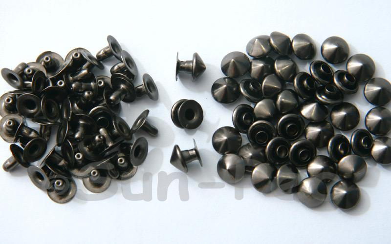 Gunmetal Black 8mm Mushroom Prism Dome Rivet & Burr Sets 10pcs - 60pcs