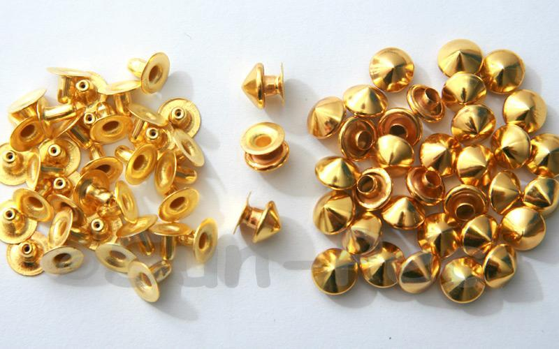 Gold 8mm Mushroom Prism Dome Rivet & Burr Sets 10pcs - 60pcs