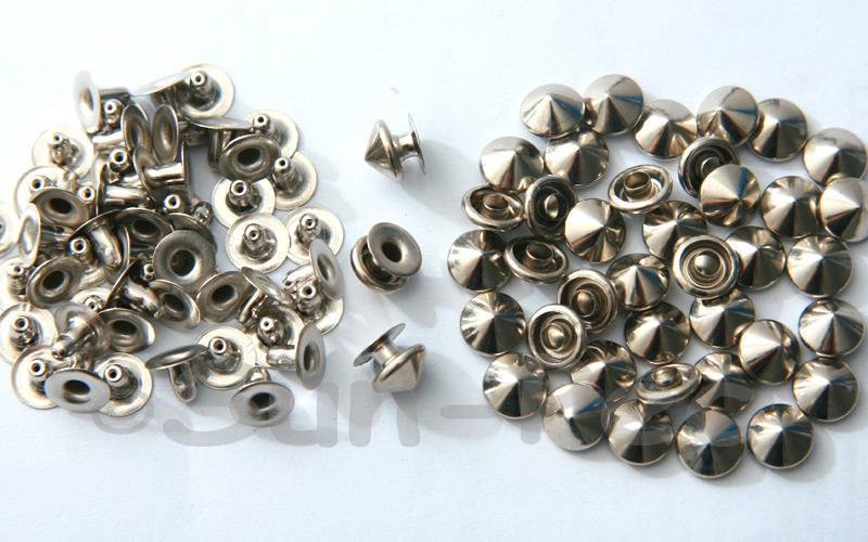 Silver 8mm Mushroom Prism Dome Rivet & Burr Sets 10pcs - 60pcs