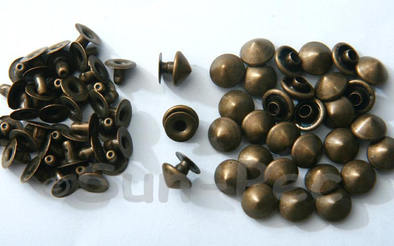 Bronze 9mm Mushroom Prism Dome Rivet & Burr Sets 10pcs - 60pcs