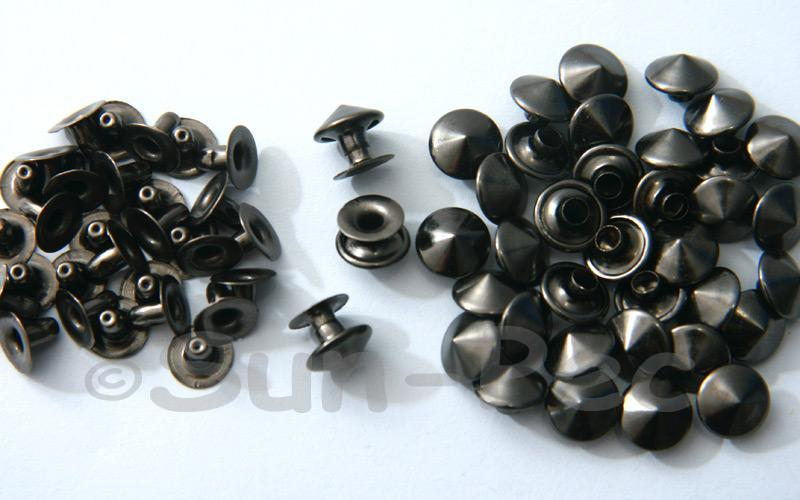 Gunmetal Black 9mm Mushroom Prism Dome Rivet & Burr Sets 10pcs - 60pcs