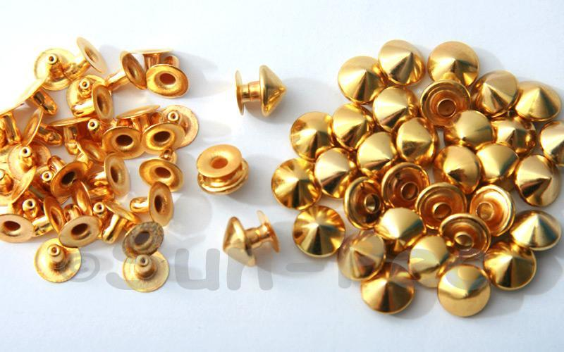 Gold 9mm Mushroom Prism Dome Rivet & Burr Sets 10pcs - 60pcs