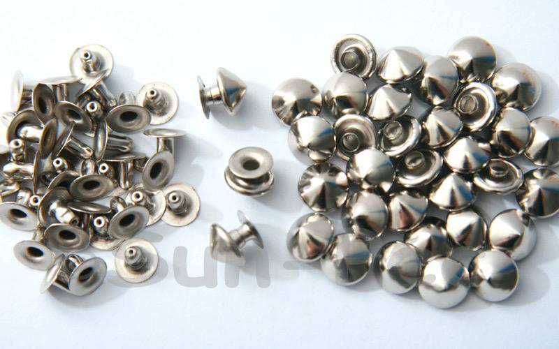 Silver 9mm Mushroom Prism Dome Rivet & Burr Sets 10pcs - 60pcs