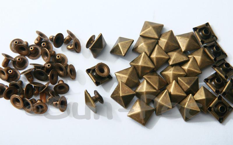 Bronze 10mm Square Pyramid Dome Rivet & Burr Sets 10pcs - 60pcs