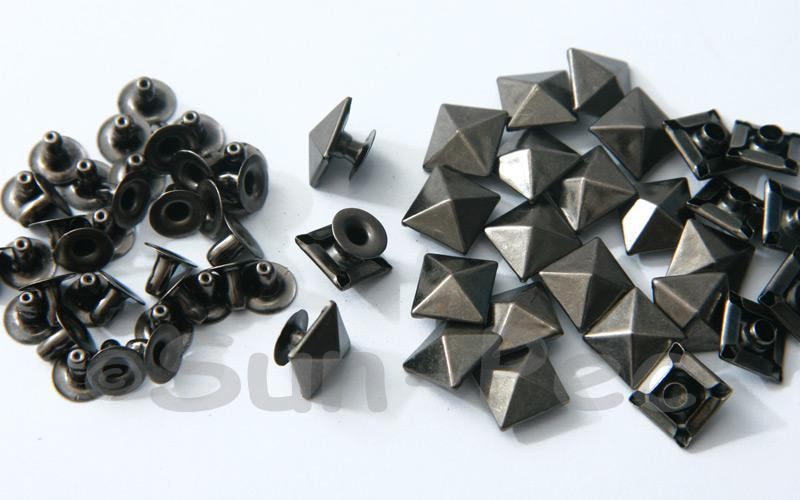 Gunmetal Black 10mm Square Pyramid Dome Rivet & Burr Sets 10pcs - 60pcs