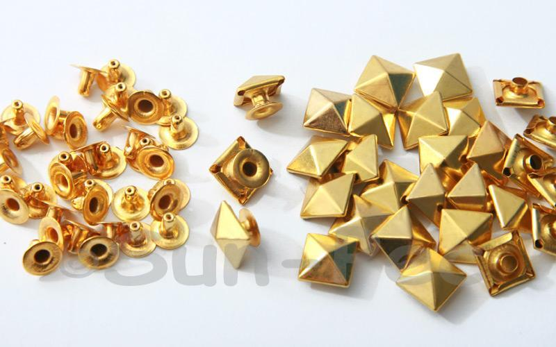 Gold 10mm Square Pyramid Dome Rivet & Burr Sets 10pcs - 60pcs