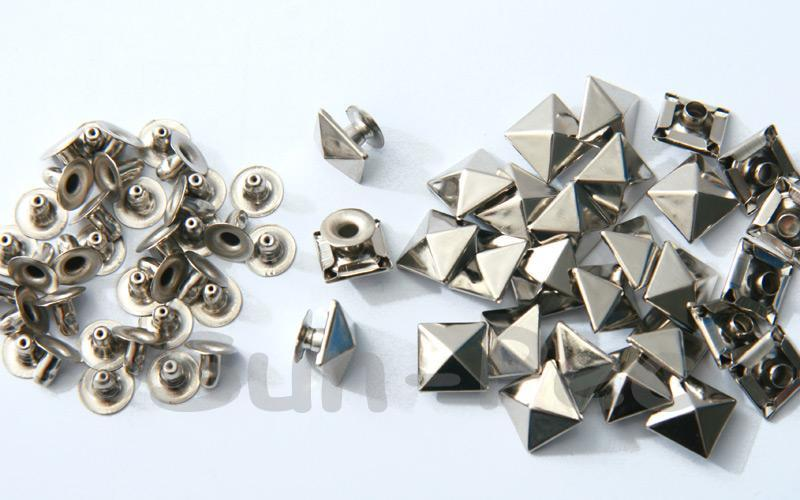 Silver 10mm Square Pyramid Dome Rivet & Burr Sets 10pcs - 60pcs