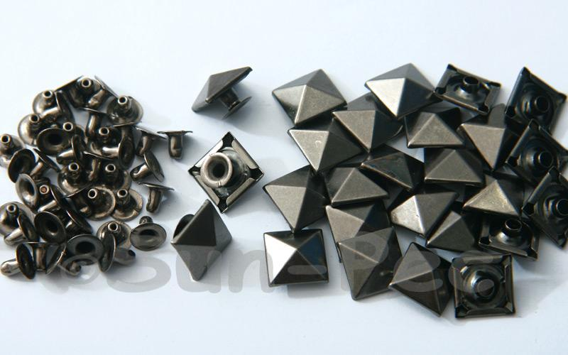 Gunmetal Black 12mm Square Pyramid Dome Rivet & Burr Sets 10pcs - 50pcs