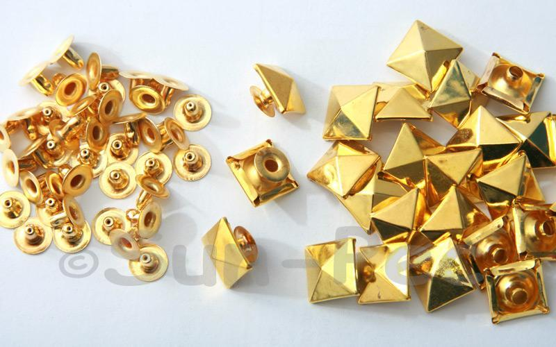 Gold 12mm Square Pyramid Dome Rivet & Burr Sets 10pcs - 50pcs