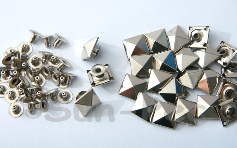 Silver 12mm Square Pyramid Dome Rivet & Burr Sets 10pcs - 50pcs