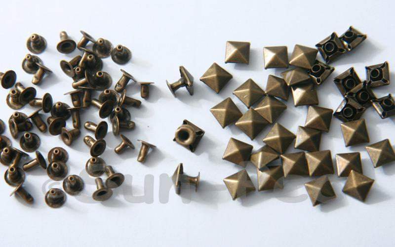 Bronze 6mm Square Pyramid Dome Rivet & Burr Sets 10pcs - 60pcs
