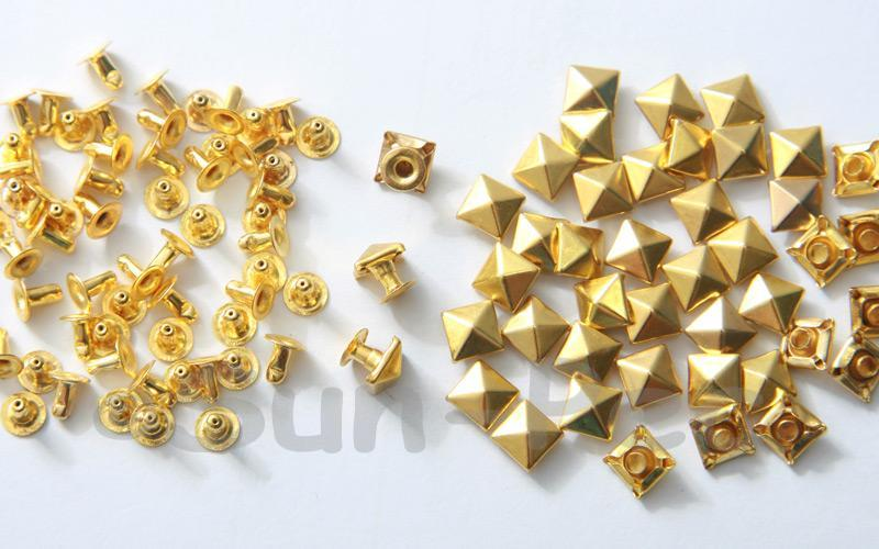 Gold 6mm Square Pyramid Dome Rivet & Burr Sets 10pcs - 60pcs