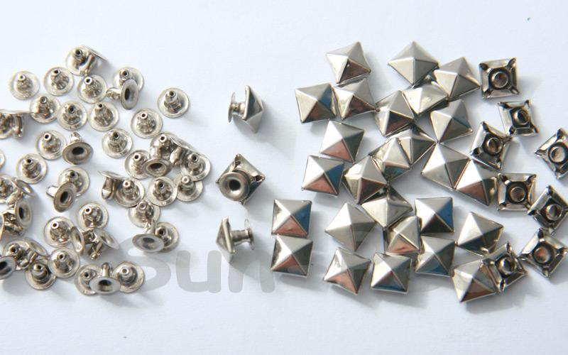 Silver 6mm Square Pyramid Dome Rivet & Burr Sets 10pcs - 60pcs