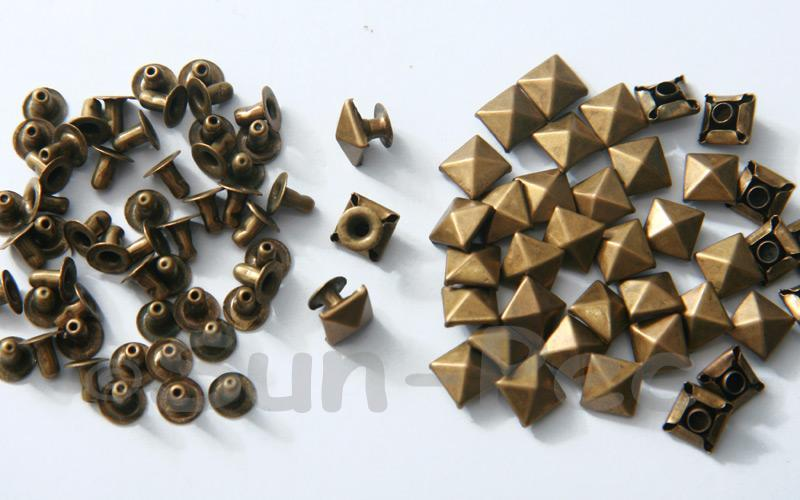 Bronze 7mm Square Pyramid Dome Rivet & Burr Sets 10pcs - 60pcs