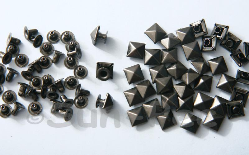 Gunmetal Black 7mm Square Pyramid Dome Rivet & Burr Sets 10pcs - 60pcs